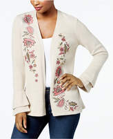Style&Co. Style & Co Petite Floral-Embroidered Bell-Sleeve Cardigan, Created for Macy's