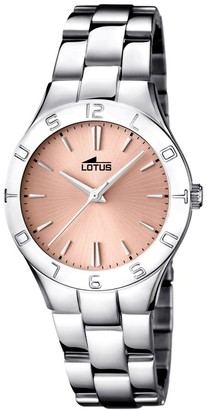 Lotus Women's Quartz Watch with Rose Gold Dial Analogue Display and Silver Stainless Steel Bracelet 15895/2