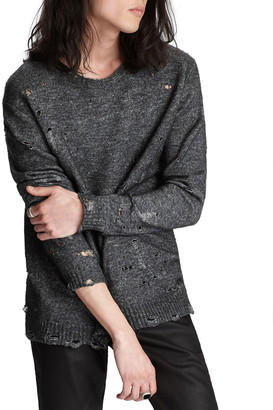 John Varvatos Men's Easy-Fit Distressed Wool-Blend Sweater