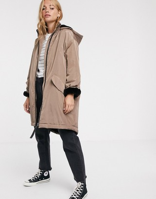 Asos DESIGN faux fur lined raincoat in mink