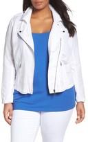 Nic+Zoe Plus Size Women's Linen Blend Biker Jacket