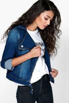 Boohoo Sophia Slim Fit Denim Biker Jacket