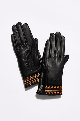 Maison Scotch Embroidered Leather Gloves