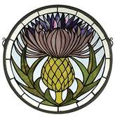Tiffany & Co. Meyda 28436 17 Inch W X 17 Inch H Thistle Window