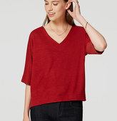LOFT Petite Mixed Media Dolman Top