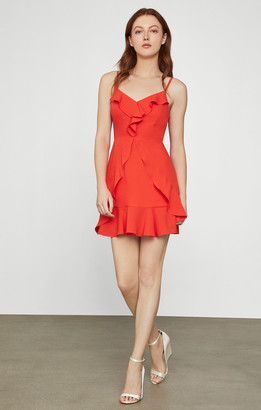 BCBGMAXAZRIA Ruffled Satin Mini Dress