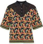 M Missoni Paneled Intarsia-Knit Cotton-Blend Top