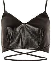 River Island Womens Black vinyl strappy cami bralet