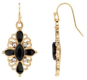Downton Abbey Crystal Jet Oval Drop Earring