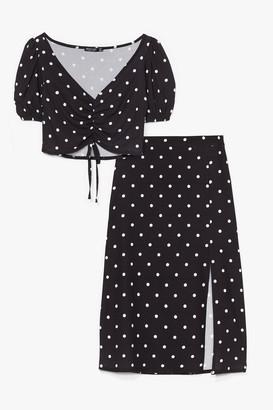 Nasty Gal Womens You Dot It Girl Polka Dot Crop Top and Midi Skirt - Black