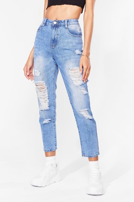 Nasty Gal Womens Give It Raw Best Shot Distressed Jeans - Blue - L