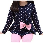 Vikoros Little Girls' Two-Piece Set with Layered Polka Dot Tops And Pants