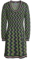 M Missoni Striped Ribbed-Knit Mini Dress