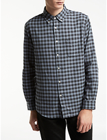 Edwin Standard Checked Cotton Shirt, Grey Vichy