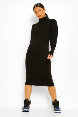 boohoo Petite Knitted Roll Neck Midi Dress