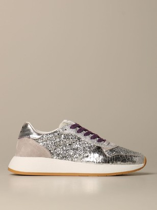 Crime London Lunar Sneakers In Mirrored Leather And Glitter