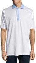 Peter Millar Woven-Trim Cotton Polo Shirt, White/Tarheel Blue