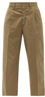 Myar - High-rise Pleated Cotton-blend Cropped Trousers - Khaki