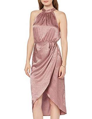 New Look Women's Halter Satin Hi Neck Dress,(Size:)