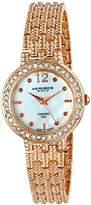 Akribos XXIV Women's AK757RG Swiss Quartz Movement Watch with Genuine White Mother of Pearl Dial with Bracelet