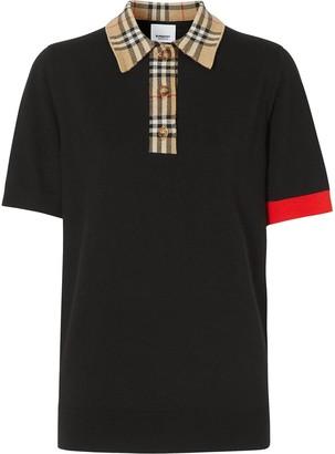 Burberry Vintage check trim polo shirt