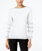 NY Collection Ruffled-Sleeve Sweater