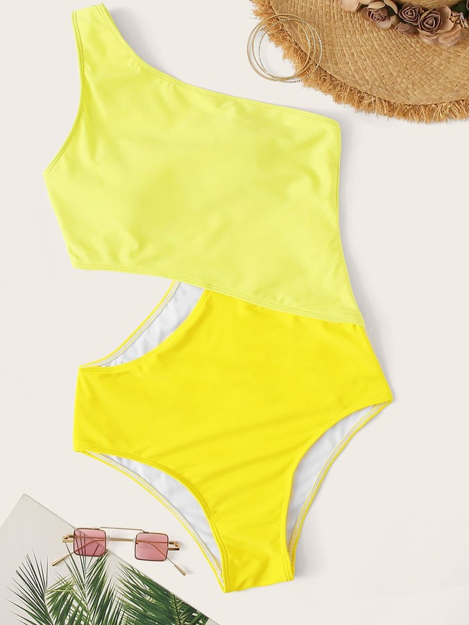 8632c75506 Shein Yellow One Piece Swimsuits - ShopStyle