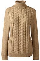 Classic Women's Cotton Cable Turtleneck Sweater-Vintage Birch Heather Fairisle
