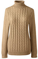 Classic Women's Petite Cotton Cable Turtleneck Sweater-Vicuna Heather