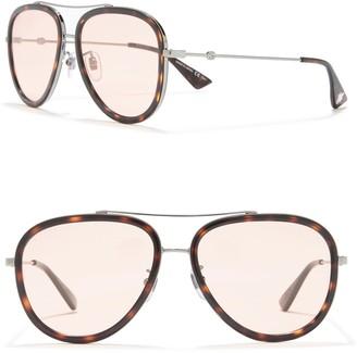 Gucci 57mm Bow Bridge Round Sunglasses
