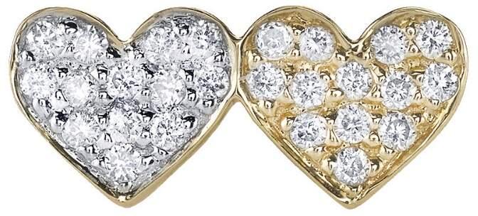 Sydney Evan Double Diamond Heart Stud Earring