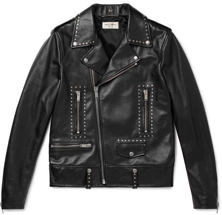 Saint Laurent Slim-fit Studded Leather Biker Jacket - Black