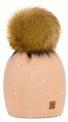 4sold Womens Ladies Winter Hat Wool Knitted Beanie with Large Pom Pom Cap SKI Snowboard Hats Bobble Gold Circle Stars Crystals (Beige)