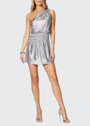 Ramy Brook Nadya Convertible One-Shoulder Foiled Jersey Mini Dress