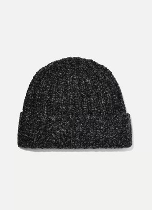 Johnstons of Elgin Donegal Ribbed Cashmere Beanie - Charcoal