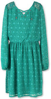 Speechless Long-Sleeve Jade Clip Dot Chiffon Peasant Top - Girls Plus