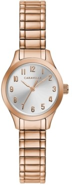 Caravelle Women's Rose Gold-Tone Stainless Steel Expansion Bracelet Watch 24mm