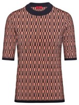 HUGO Short-sleeved sweater with knitted geometric pattern