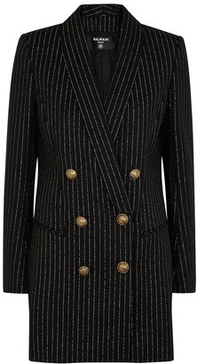 Balmain Striped wool-blend blazer dress