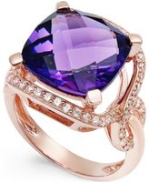 Macy's Amethyst (6-1/6 ct. t.w.) and Diamond (3/8 ct. t.w.) Ring in 14k Rose Gold