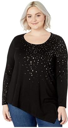 Karen Kane Plus Plus Size Metallic Print Top (Black) Women's Clothing