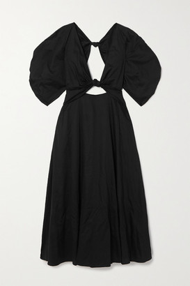 Mara Hoffman + Net Sustain Leila Knotted Organic Cotton-poplin Maxi Dress - Black