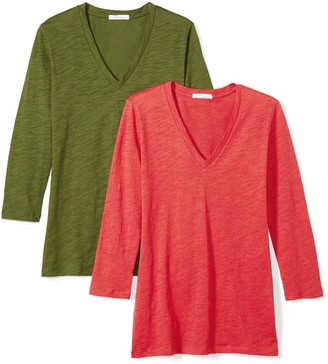 Daily Ritual Women's Lived-in Cotton Slub 3/4-Sleeve V-Neck T-Shirt