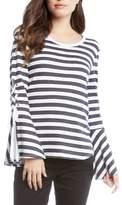 Karen Kane Stripe Lace-Up Sleeve Top