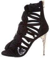 Balmain Lace-Up Suede Sandals