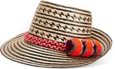 Yosuzi Falling Star Pompom-embellished Woven Straw Sunhat - Beige