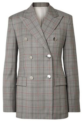 Calvin Klein Double-breasted Prince Of Wales Checked Wool Blazer