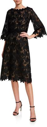St. John Floral Guipure Lace Bateau-Neck Dress