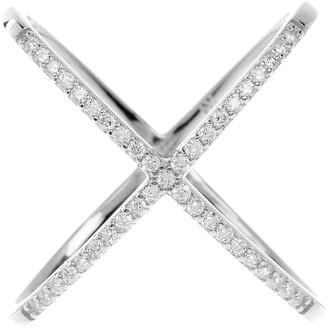 Sterling Forever Sterling Silver CZ Crisscross Ring
