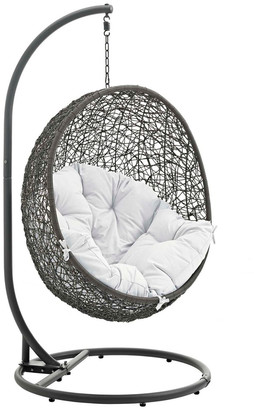 Modway Hide Outdoor Patio Wicker Rattan Swing Chair With Stand